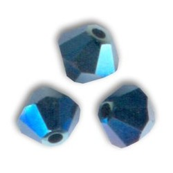 Bicono Swarovski 5328  4 mm Crystal Metallic Blue  2x  - 40 pz