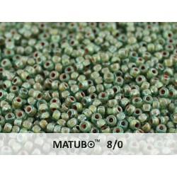 Matubo Seed  Beads   8/0 Aqua Travertin  -  10 g