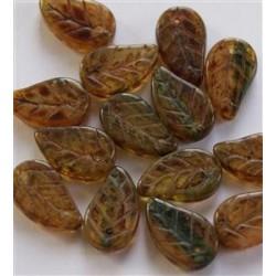 Perline Leaves 14x9 mm Rainbow Mixed Travertin  -  20 pz