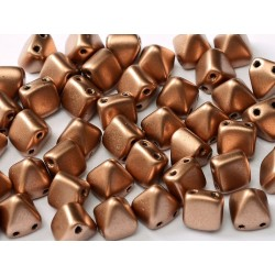 Pyramid Beads  6x6 mm 2 Holes  Camel Gold -  20 pcs