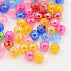 Perle  Tonde in Acrilico, Trasparenti, Finitura AB,  5 mm  Colori Misti  - 50  pz