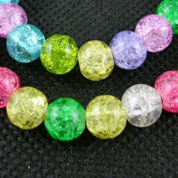 Round Crackle Glass Beads, Dyed,  8 mm  Mixed Colours - 20 pcs