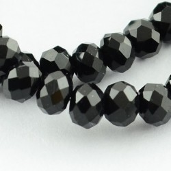 Glass Faceted Oval Beads 3.5~4x2.5~3 mm  Black - 1 Strand of about 150 pcs