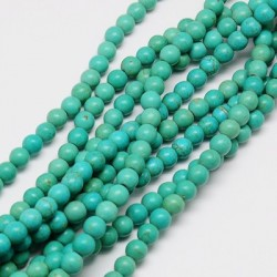 Synthetic Turquoise Round Beads 6 mm Dyed Light Sea Green - 1 Strand about 38-40 cm long
