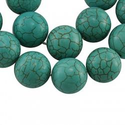 Turchese Sintetico Tondo Liscio 8 mm  Dark Turquoise  -1 Filo da circa 38-40 cm