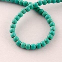 Synthetic Turquoise Round Beads 4 mm  Dark Turquoise - 1 Strand about 38-40 cm long