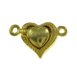 Magnetic Heart  Clasp  20x13x6 mm, Gold Color Plated - 1 pc