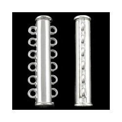 Brass Slide Lock Clasp 6 strands  11x35x7 mm, Silver Color Plated - 1 pc