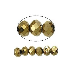 Glass Faceted Oval Beads 4x3 mm  Metallic  Gold Color Plated - 1 Strand of about 40-45  cm