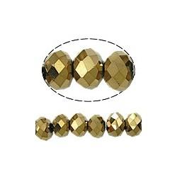 Rondelle Sfaccettate in Vetro 4x3 mm  Color Oro Metallico  - 1 Filo da circa 40-45  cm
