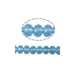 Rondelle Sfaccettate in Vetro 4x3 mm  Light  Aquamarine  - 1 Filo da circa 30  cm