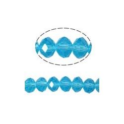 Rondelle Sfaccettate in Vetro 4x3 mm  Aquamarine - 1 Filo da circa 40- 45  cm