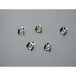 Cord Tips  4x7x4 mm, Platinum Color Plated - 20 pcs