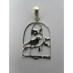 925 Sterling Silver Pendant  Aviary with Bird  30x20  mm
