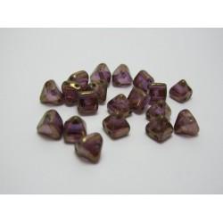 Pyramid Beads  6x6 mm 2 Holes  Crystal Lila Lustred  -  20 pcs