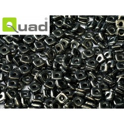 Quad® Bead 4 mm Jet Hematite  -  5  g