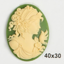 Oval Resin Cameo  40x30 mm Lady with Flower  Ivory / Green- 1 pc