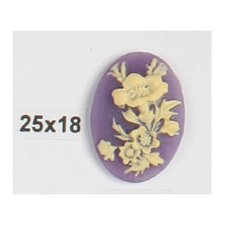Cammeo Resina  Ovale  25x18 mm Fiore  Ivory / Violet - 1 pz