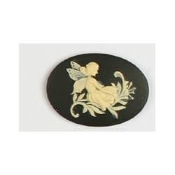 Cammeo Resina  Ovale  25x18 mm Fata Oriz.  Ivory / Black- 1 pz
