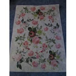 Printed Rice Paper Roses  30x40 cm   - 1 Sheet