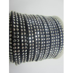 Alcantara Ribbon with Studs 5 mm Dark Blue  - 50 cm