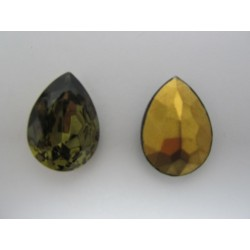 Drop Faceted  Glass Cabochon 25x18 mm  Black Diamond    - 1 pc