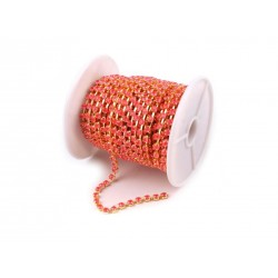 Catena Strass  3,5 mm  Color Oro/Pink-Coral  - 1 m