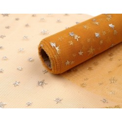 Decorative Tulle Fabric  With Small Glitter Stars  Width 15 cm  Gold Colour  -   1 m