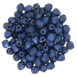 Fire Polished Faceted Round Beads  3 mm  Metallic Suede Blue   - 50 pcs