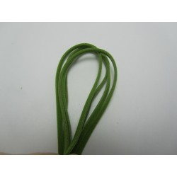 Velveteen Cord  Double-sided   3x1 mm  Bright Green , Piece of 1 m  -  1  pc