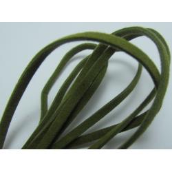 Cordoncino piatto tipo scamosciato 3x1 mm Verde  Spezzone da 1 m  -  1 pz