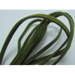 Velveteen Cord  Double-sided   3x1 mm  Green , Piece of 1 m  -  1  pc