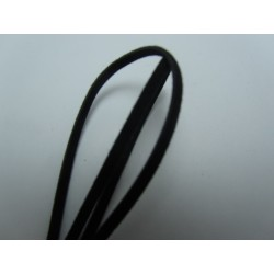 Velveteen Cord  Double-sided   3x1 mm  Black , Piece of 1 m  -  1  pc