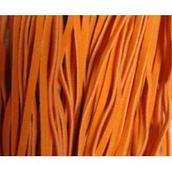 Cordoncino piatto tipo scamosciato 3x1 mm Arancione  Spezzone da 1 m  -  1 pz