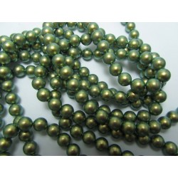 Swarovski  Pearls 5810  6 mm Iridescent Green  Pearl - 10  Pcs
