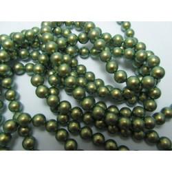 Swarovski  Pearls 5810  6 mm Iridescent Green  Pearl - 10  Pcs