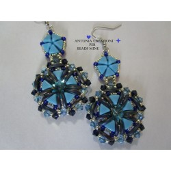 Mystic Rose  Earrings Kit  Blue version  (material kit)