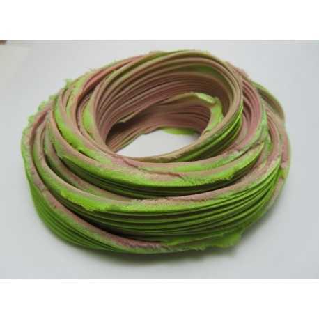 Shibori Silk Ribbon Green/Rose  - 10 cm