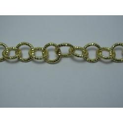 Round Aluminium Chain Diamond Cut 12 mm Gold Colour  -  1 m