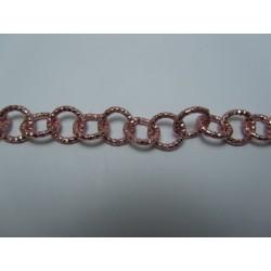 Round Aluminium Chain Diamond Cut 12 mm Pink   -  1 m