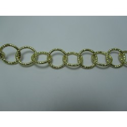 Round Aluminium Chain Diamond Cut 16 mm Light Gold Colour  -  1 m