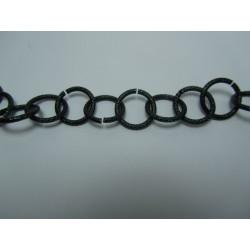 Round Aluminium Chain Grained 16 mm Black/Green  -  1 m