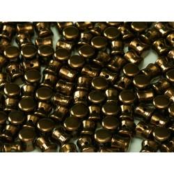 Diabolo Shape Beads  6x4 mm  Jet Bronze   -  30 pz