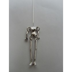 Doll Pendant  44x12x4 mm  Antique Silver Color Plated - 1 pc