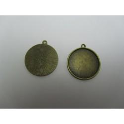 Round Pendant  Cabochon Setting  28mm , Antique Bronze Color - 1 pc