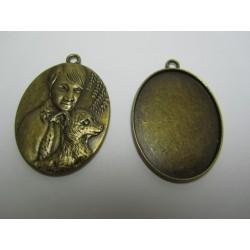 Oval Pendant  Cabochon Setting  47x33x3  mm , Antique Bronze Color - 1 pc