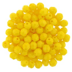 Fire Polished Faceted Round Beads  4 mm Sunflower Yellow   - 50 pcs