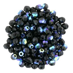 Fire Polished Faceted Round Beads  2 mm Jet  AB  - 50 pcs