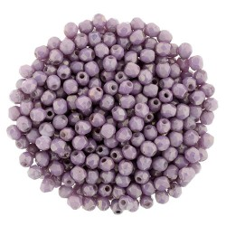 Fire Polished Faceted Round Beads  2 mm  Luster Opaque Lilac  - 50 pcs