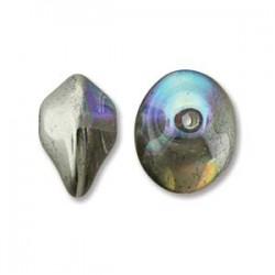 UFO Beads  7 x 11  mm Crystal Silver Rainbow  -  10 pz